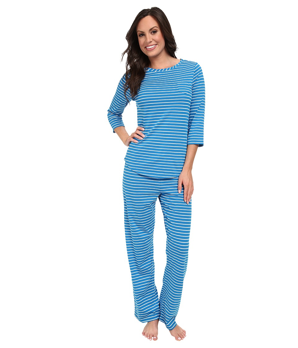 Jockey - Mystic Bay Stripe Pajama Set (Alexandra Stripe Turquoise) Women's Pajama Sets