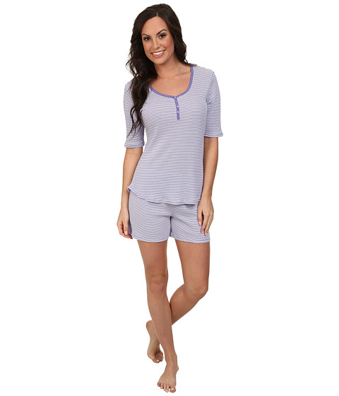 Jockey - The Savannah Striped Henley w/ Boxer Short Set (Trinidad Stripe) Women's Pajama Sets