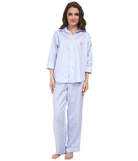 LAUREN by Ralph Lauren - Petite Hampton Classics Sateen Classic Notch Collar PJ (Jobs Lane Gingham) Women
