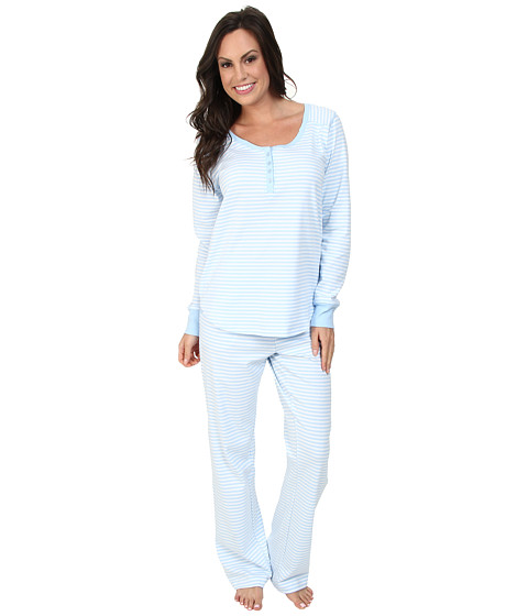 Carole Hochman - Soft Interlock Pajama (Bayside Stripe Blue) Women's Pajama Sets