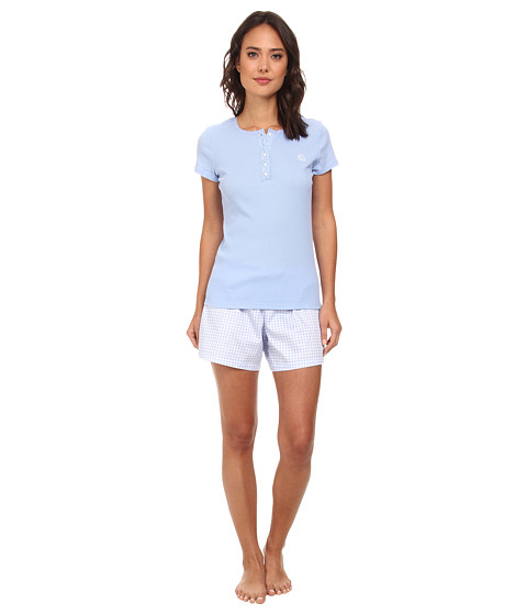 LAUREN by Ralph Lauren - Hampton Classics S/S Knit Top w/ Woven Boxer PJ Set (Riding Blue/Jobs Lane Gingham) Women's Pajama Sets
