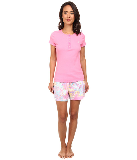 LAUREN by Ralph Lauren - Hampton Classics S/S Knit Top w/ Woven Boxer PJ Set (Dahlia Pink/Hither Lane Paisley) Women's Pajama Sets