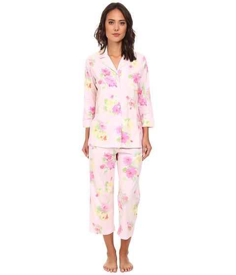 LAUREN by Ralph Lauren - Hampton Classics Bingham Knits Floral Capri PJ (Cobb Isle Floral Pink/Yellow Multi) Women's Pajama Sets