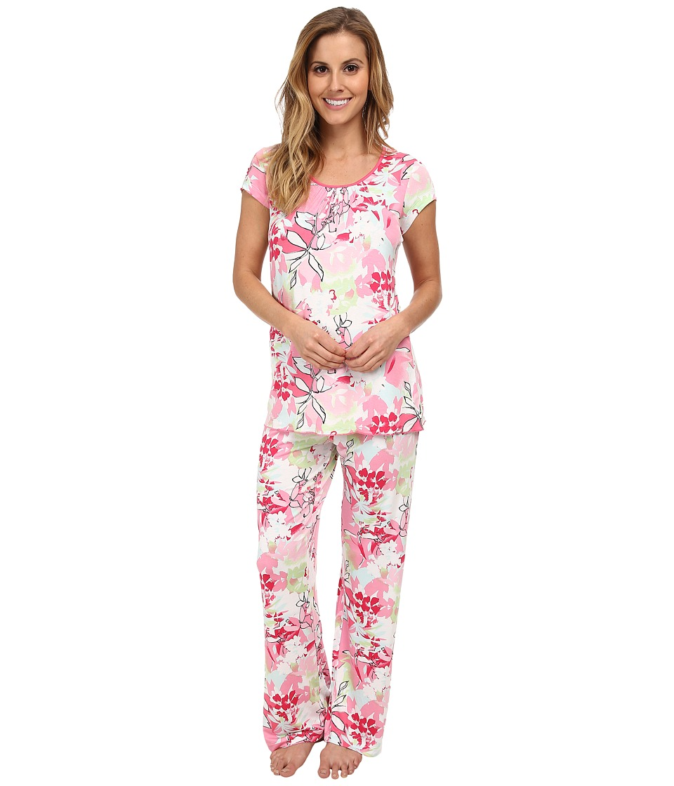 Jockey - Spring Pop Sorbet Printed S/S Top w/ Printed Long Pant Pajama Set (Sorbet Jungle) Women