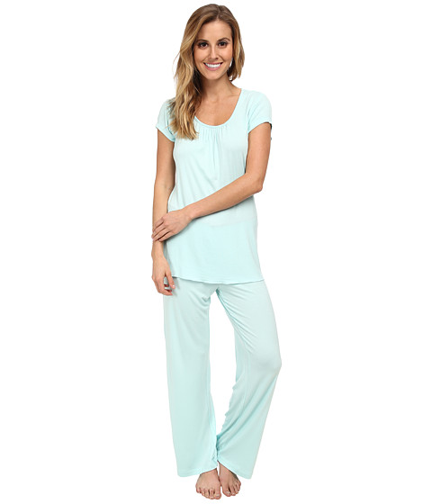 Jockey - Spring Pop S/S Top w/ Long Pant Pajama Set (Seafoam) Women's Pajama Sets
