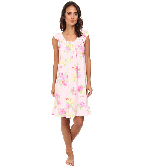 LAUREN by Ralph Lauren - Hampton Classics Bingham Knits Short Gown (Cobb Isle Floral Pink/Yellow Multi) Women's Pajama