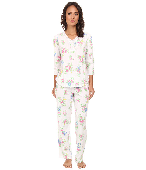 LAUREN by Ralph Lauren - Hampton Classics Three-Quarter Sleeve PJ Set w/ Lace (Water Mill Floral White Multi) Women