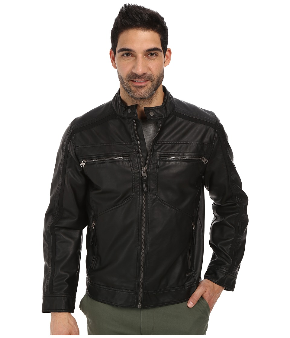 Calvin Klein - Faux Leather Four Pocket Moto Jacket w/ Canvas Trim (Black) Men's Coat