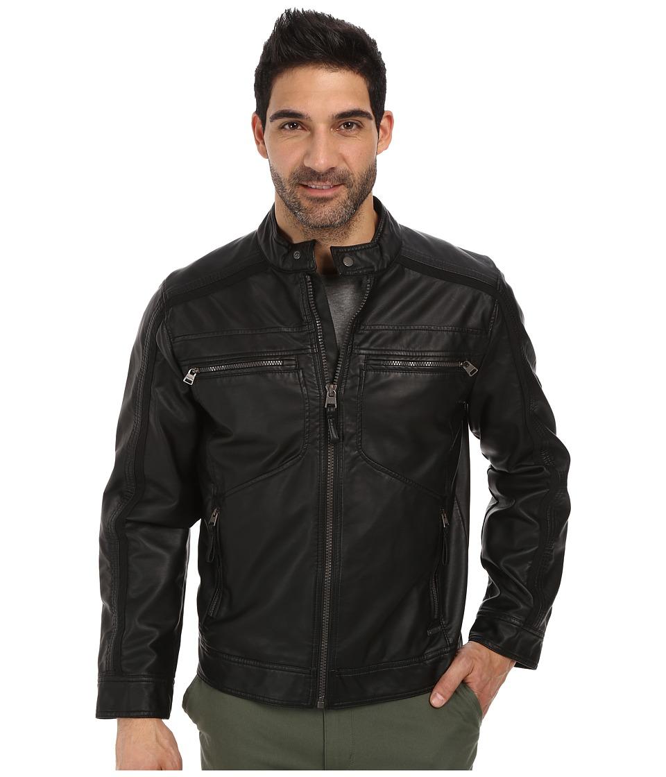 Calvin Klein - Faux Leather Four Pocket Moto Jacket w/ Canvas Trim (Black) Men's Coat