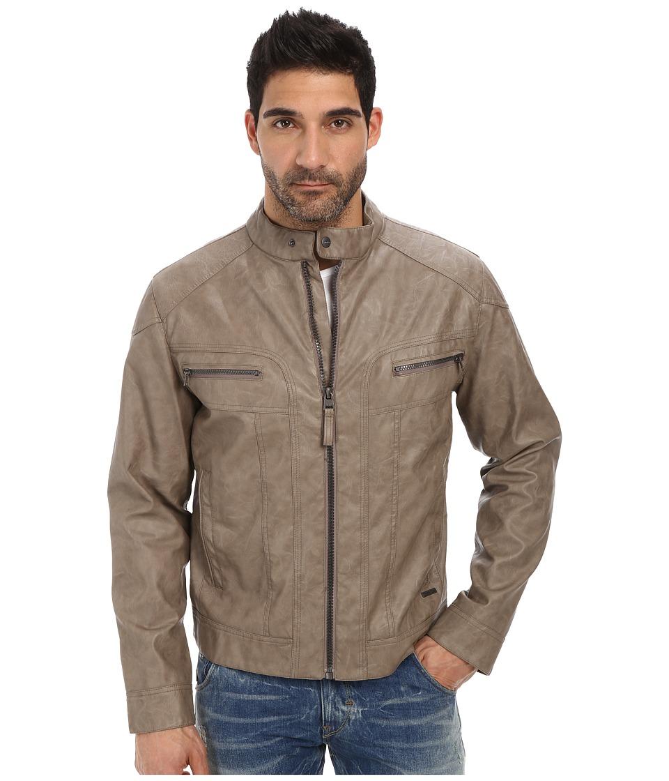 Calvin Klein - Faux Leather Moto Jacket (Mink) Men