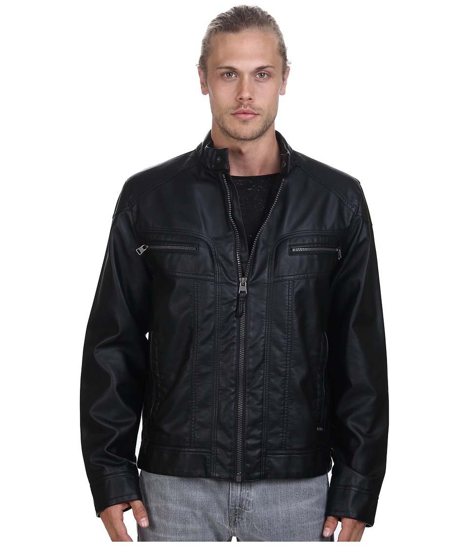 Calvin Klein - Faux Leather Moto Jacket (Black) Men's Coat