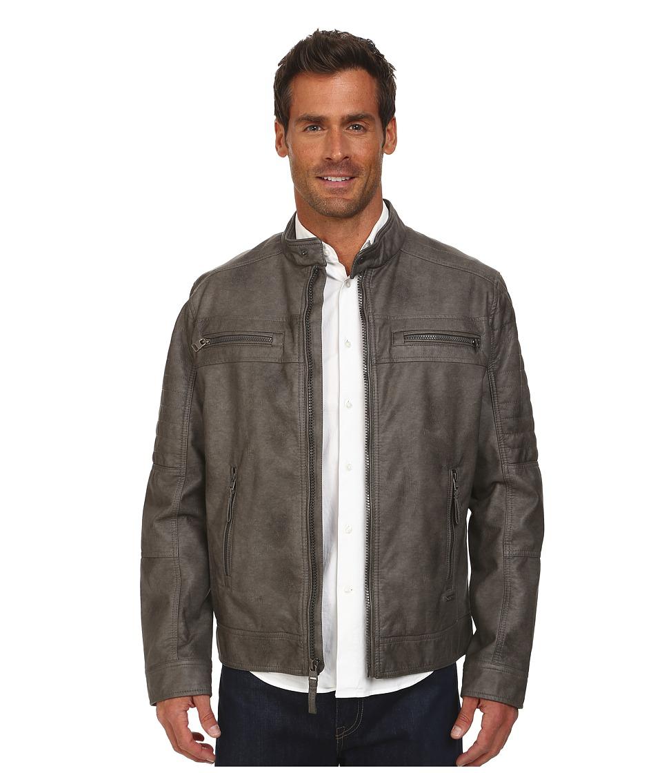 Calvin Klein - Faux Leather Four Pocket Moto Jacket (Grey) Men