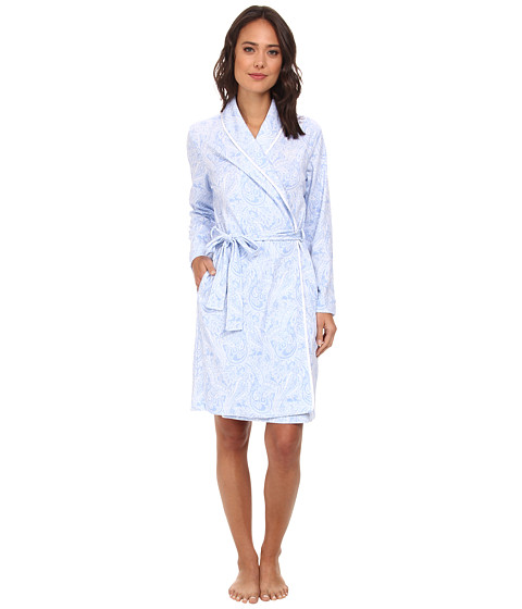 LAUREN by Ralph Lauren - Hampton Classics Short Shawl Collar Robe (Fulton Paisley Riding Blue/White) Women's Robe