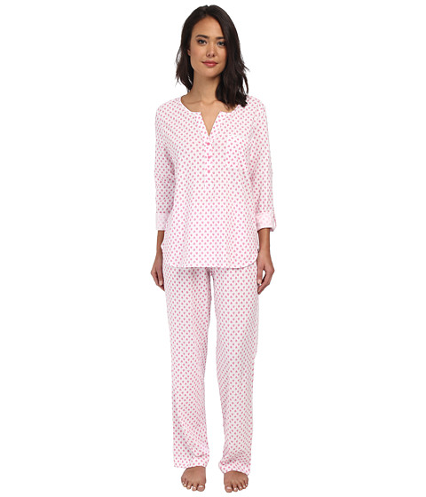 Carole Hochman - Graphite Flower Henley Pajama (Leaf Foulard Pink) Women's Pajama Sets