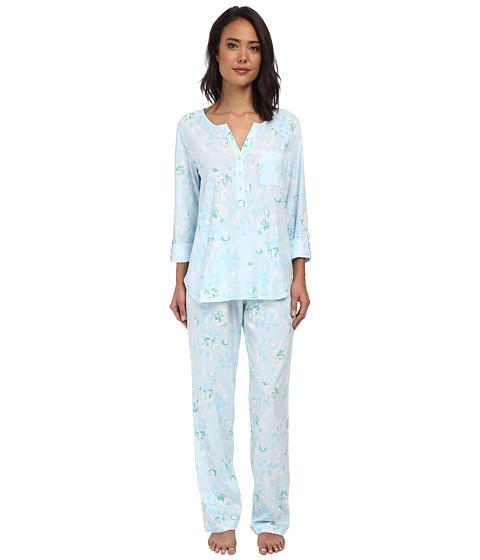 Carole Hochman - Graphite Flower Henley Pajama (Graphite Flower Blue) Women's Pajama Sets