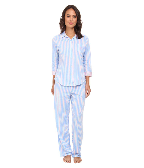 LAUREN by Ralph Lauren - Hampton Classics Three-Quarter Sleeve Long Pant PJ Set (Halsey Multi Stripe Riding Blue/Pink) Women
