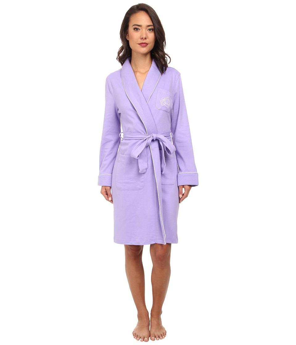 LAUREN by Ralph Lauren - Essentials Quilted Collar and Cuff Robe (Victorian Purple) Women