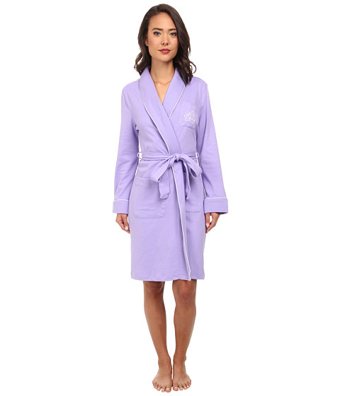 LAUREN by Ralph Lauren - Essentials Quilted Collar and Cuff Robe (Victorian Purple) Women