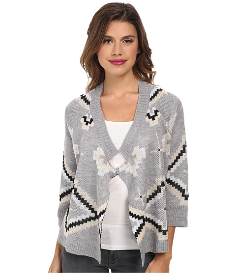 Jack by BB Dakota - Wallis Patterned Cardigan (Light Heather Grey) Women's Sweater