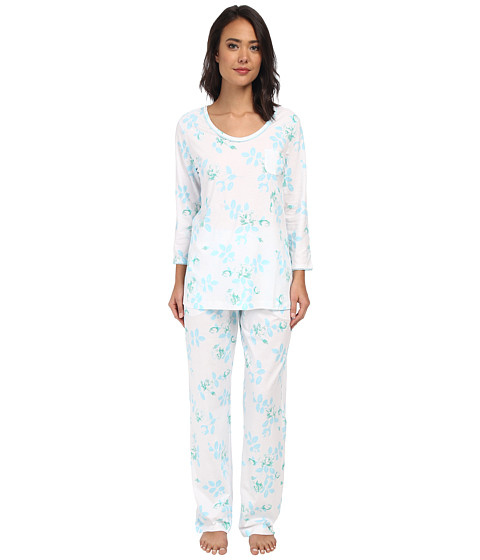 Carole Hochman - Printed 3/4 Sleeve Pajama (Graphite Flower Blue Twin) Women's Pajama Sets