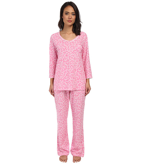 Carole Hochman - Printed 3/4 Sleeve Pajama (Beautiful Butterflies Pink) Women's Pajama Sets