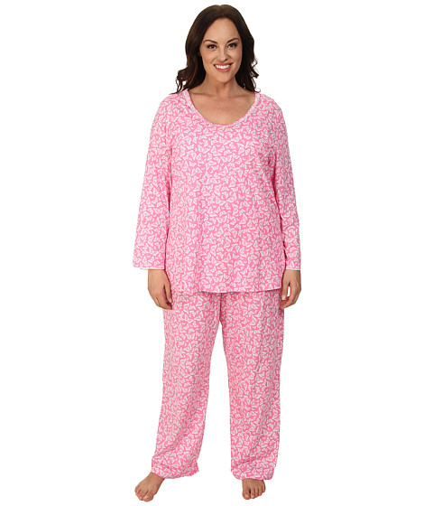 Carole Hochman - Plus Size Printed Long Sleeve Pajama (Beautiful Butterflies Pink) Women