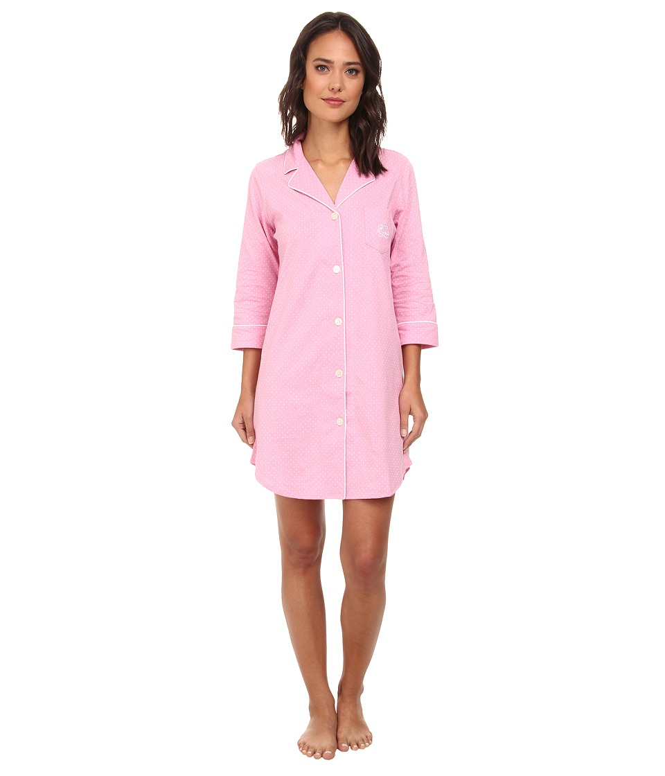 LAUREN by Ralph Lauren - Essentials Bingham Knits Sleep Shirt (Madeleine Dot Lagoon Pink/White) Women