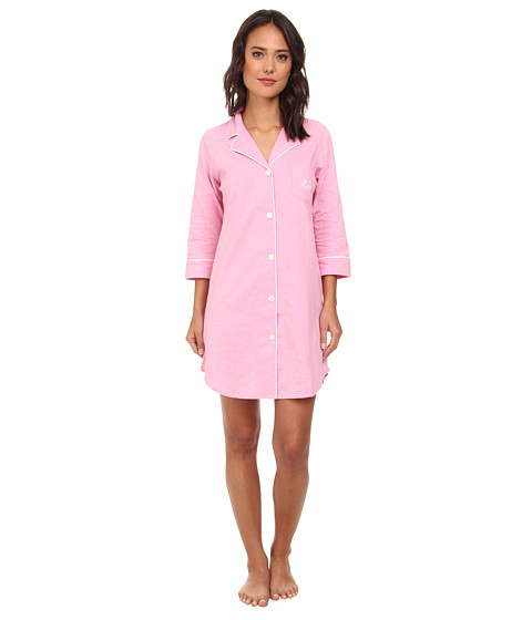 LAUREN by Ralph Lauren - Essentials Bingham Knits Sleep Shirt (Madeleine Dot Lagoon Pink/White) Women's Pajama