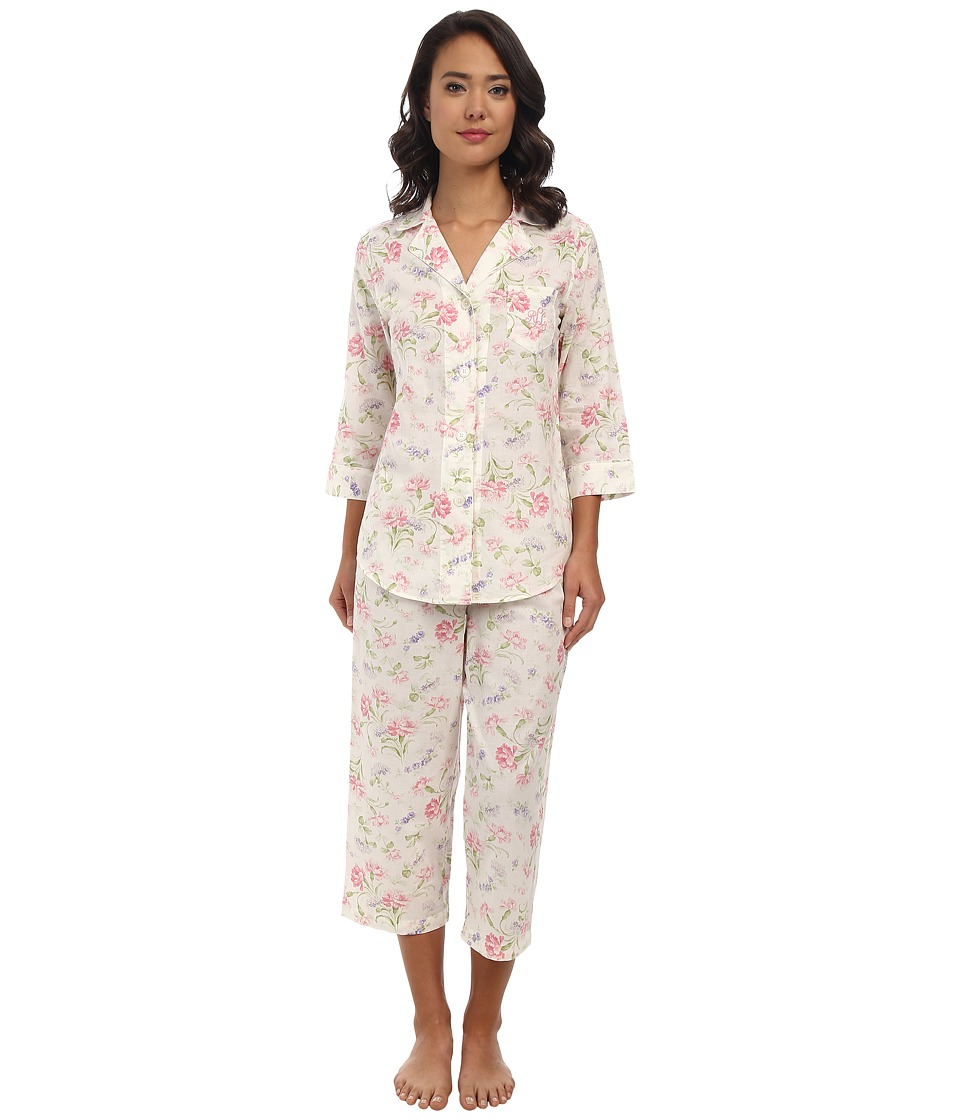 LAUREN by Ralph Lauren - Victorian Lawn Cotton Lawn Classic Notch Collar PJ (Hattie Floral Pearl Multi) Women's Pajama Sets