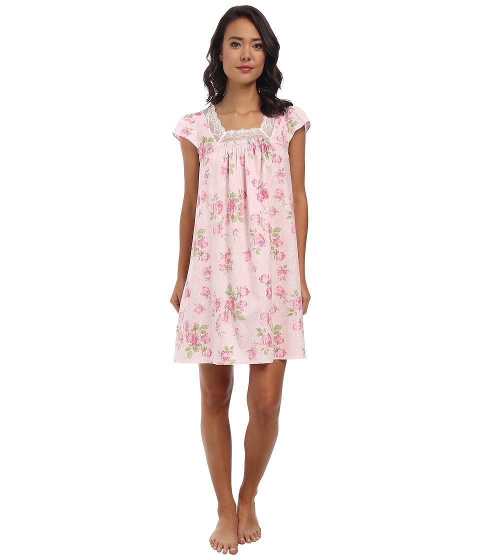 LAUREN by Ralph Lauren - Victorian Lawn Flutter Sleeve Short Gown (Lacy Rose Pink) Women's Pajama