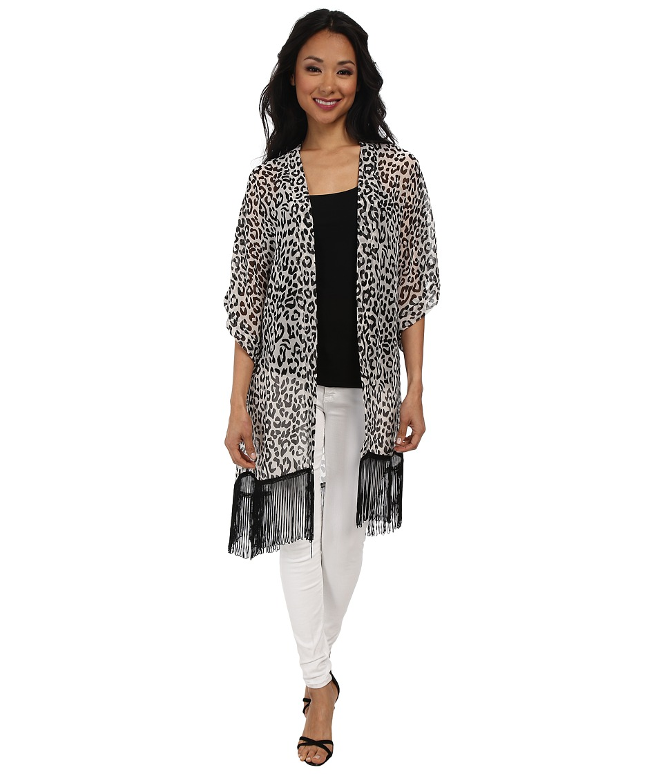 Steve Madden - Cheetah Crawl Fringed Print Topper (Black/White) Women's Clothing