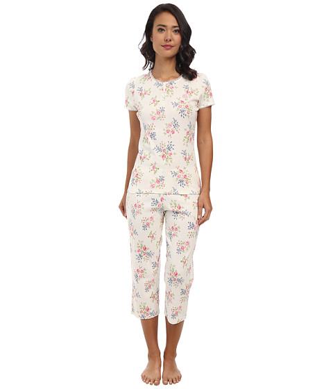 LAUREN by Ralph Lauren - Victorian Lawn S/S Capri PJ Set (Selina Floral Pearl Multi) Women