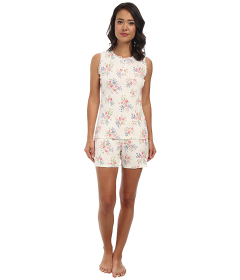 LAUREN by Ralph Lauren - Victorian Lawn Sleeveless Boxer PJ Set (Selina Floral Pearl Multi) Women's Pajama Sets