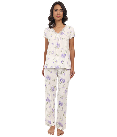 LAUREN by Ralph Lauren - Victorian Lawn S/S Long Pant PJ Set (Ellie Floral) Women's Pajama Sets