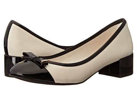 Cole Haan - Kelsey Waterproof Block Heel Pump (Ivory/Black Patent) Women's 1-2 inch heel Shoes