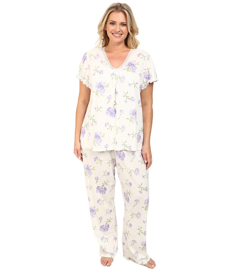 LAUREN by Ralph Lauren - Plus Size Victorian Lawn S/S Long Pant PJ Set (Ellie Floral) Women