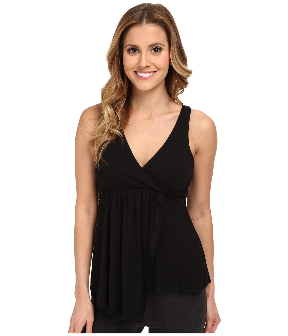 Midnight by Carole Hochman - Lounge Capsule Wrap Front Lounge Tank (Black) Women's Pajama