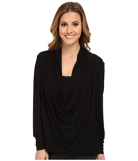 Midnight by Carole Hochman - Lounge Capsule Cowl Neck Top (Black) Women's Pajama