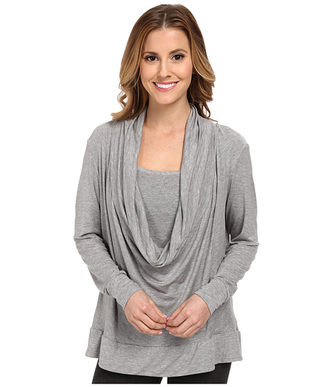 Midnight by Carole Hochman - Lounge Capsule Cowl Neck Top (Heather Grey) Women