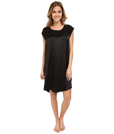 Midnight by Carole Hochman - Simple Slumber Satin Front Sleepshirt (Black) Women's Pajama