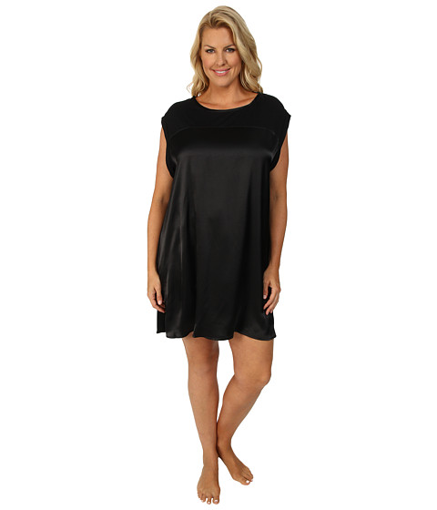 Midnight by Carole Hochman - Plus Size Simple Slumber Satin Front Sleepshirt (Black) Women