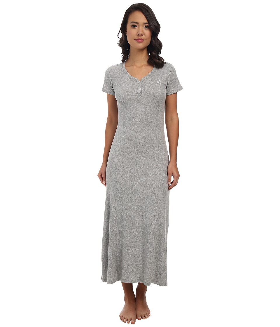 LAUREN by Ralph Lauren - Essentials S/S V-Nick Henley Maxi Gown (Grey Heather) Women's Pajama