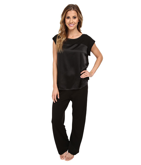 Midnight by Carole Hochman - Simple Slumber Satin Front Pajama (Black) Women's Pajama Sets