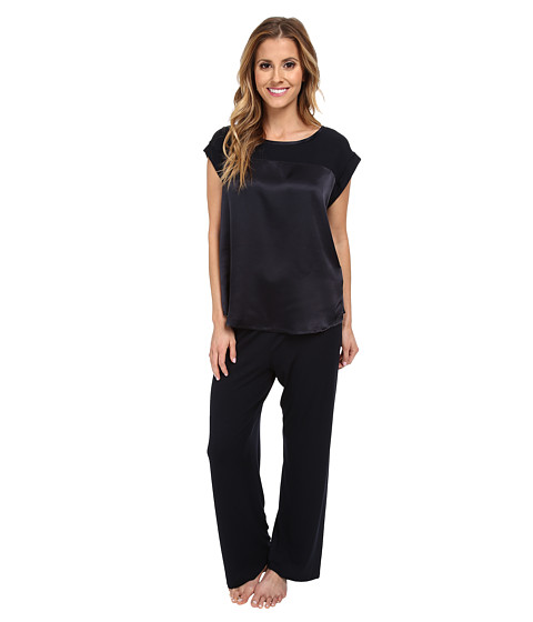 Midnight by Carole Hochman - Simple Slumber Satin Front Pajama (Midnight) Women's Pajama Sets