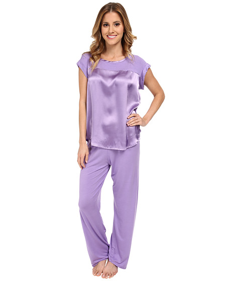 Midnight by Carole Hochman - Simple Slumber Satin Front Pajama (African Violet) Women