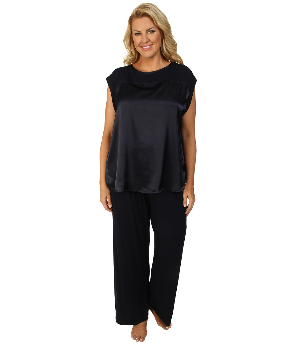Midnight by Carole Hochman - Plus Size Simple Slumber Satin Front Pajama (Midnight) Women