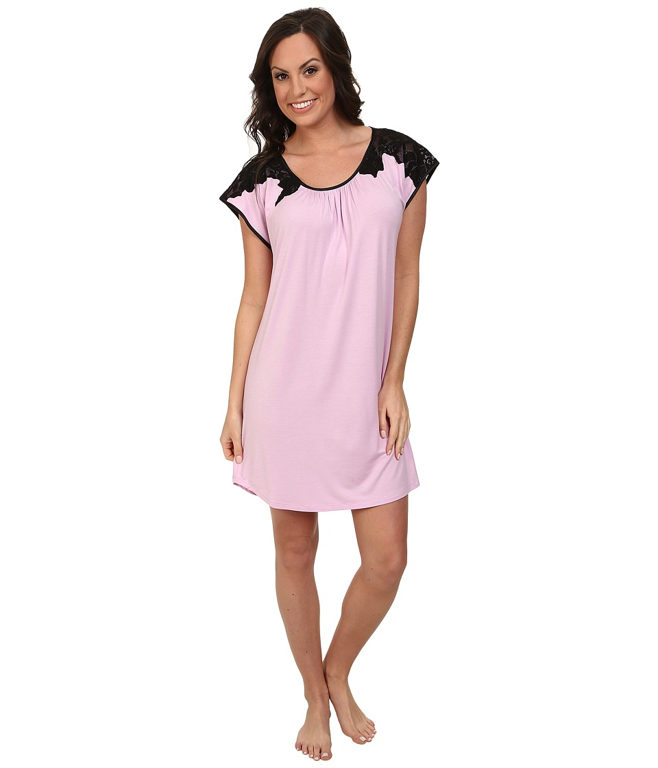 Midnight by Carole Hochman - Flourishing Florals Lace Embroidered Sleepshirt (Blooming Pink) Women's Pajama