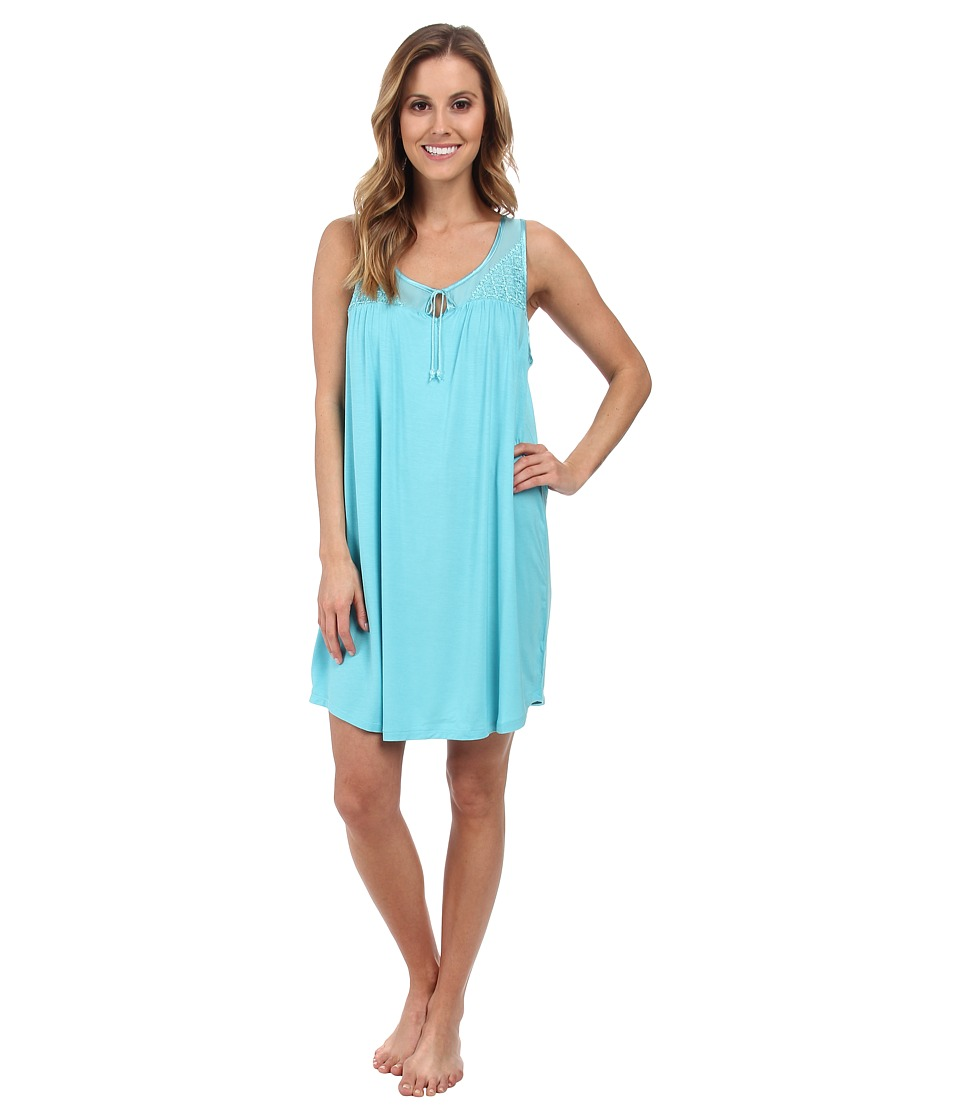 Midnight by Carole Hochman - Transparent Dreams Mesh And Lace Inset Chemise (Caribbean Sea) Women's Pajama