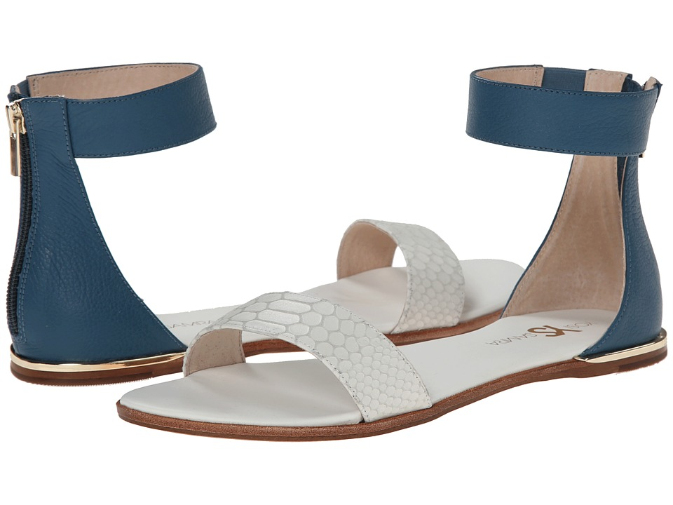 Yosi Samra - Cambelle 3D Croco Leather Sandal (White/Everglade) Women's Dress Sandals