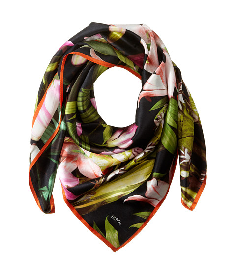 Echo Design - Tropical Flowers Square Scarf (Black) Scarves